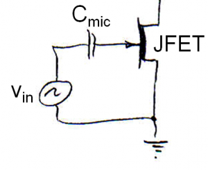 Equivalent circuit of electret with JFET buffer