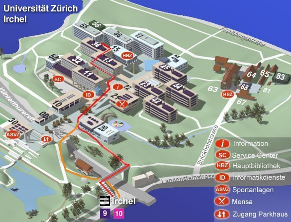 3D view of Irchel Campus showing route to INI